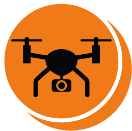 Picture of a drone on an orange background